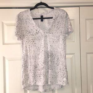 Black and white speckled Adidas v-neck t shirt